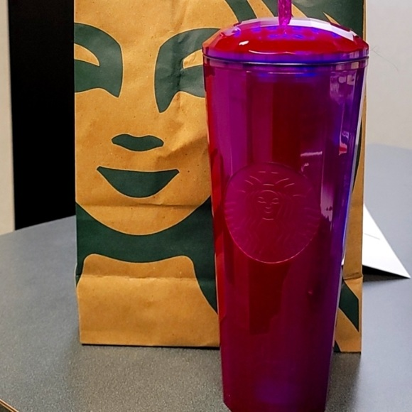 Starbucks Hot Pink/ Purple Dome Tumbler Kaleidoscope